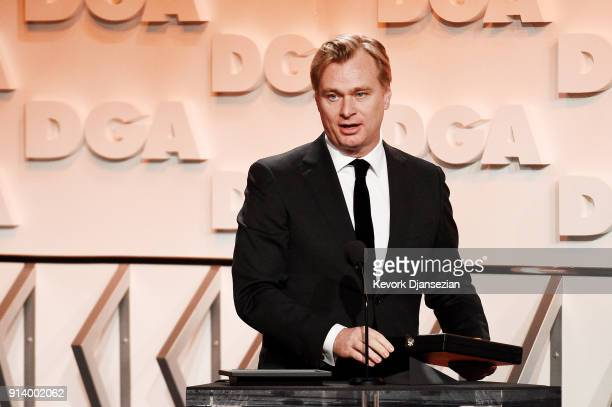 Director Christopher Nolan accepts the Nomination Medallion for Outstanding Directorial Achievement in Feature Film for 'Dunkirk' onstage during the...