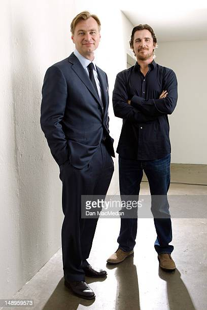 Director Christopher Nolan and actor Christian Bale are photographed for USA Today on July 7 2012 in Beverly Hills California