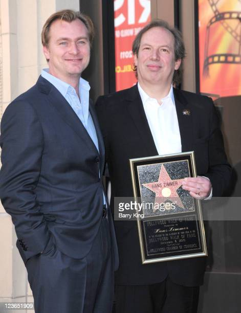 Director Christopher Nolan and composer Hans Zimmer attend Zimmer's Hollywood Walk of Fame star ceremony on December 8 2010 in Hollywood California
