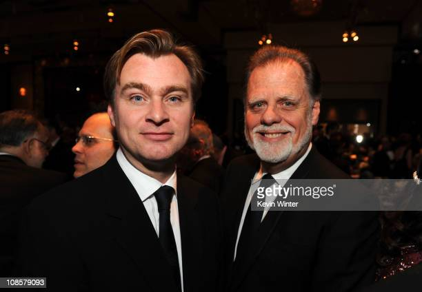 Director Christopher Nolan and DGA President Taylor Hackford attend the 63rd Annual Directors Guild Of America Awards held at the Grand Ballroom at...