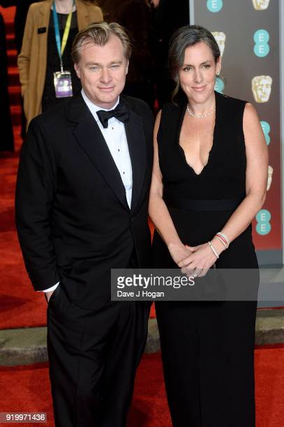 Director Christopher Nolan and Emma Thomas attend the EE British Academy Film Awards held at Royal Albert Hall on February 18 2018 in London England