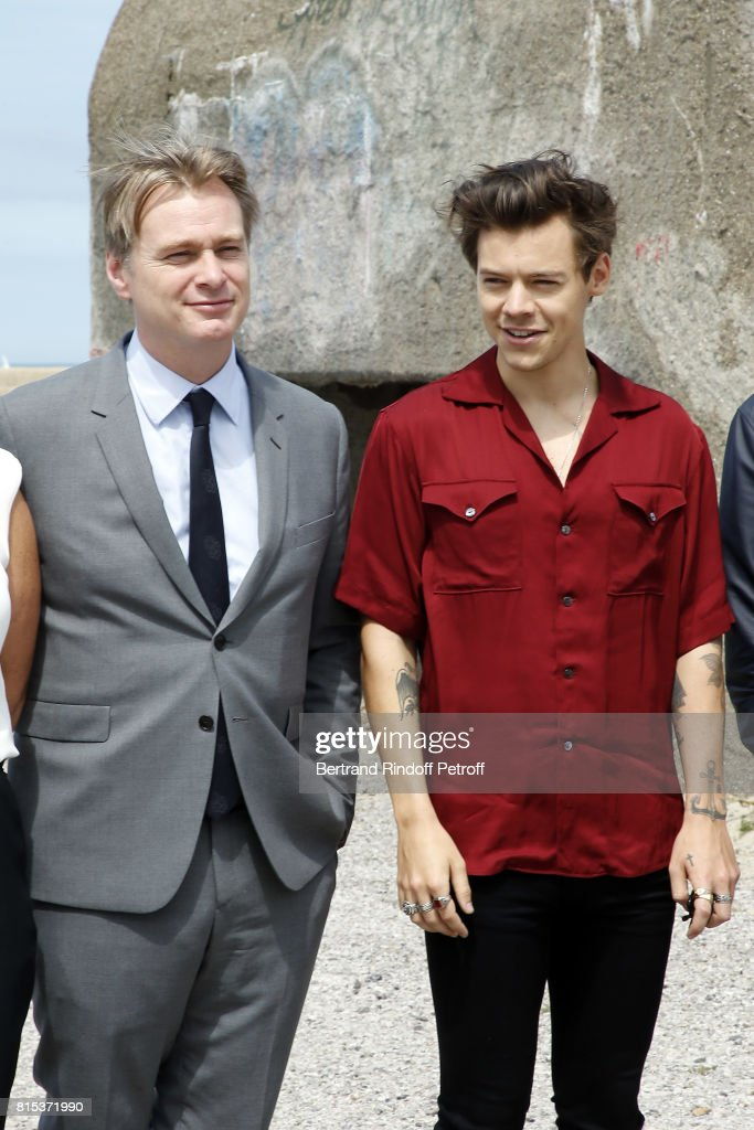 Director Christopher Nolan and Harry Styles pose for a photo at the Dunkirk photocall on July 16, 2017 in Dunkerque, France.