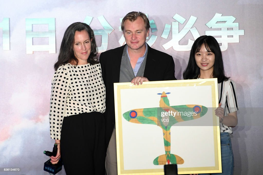 Director Christopher Nolan and producer Emma Thomas attend 'Dunkirk' press conference on August 21, 2017 in Beijing, China.