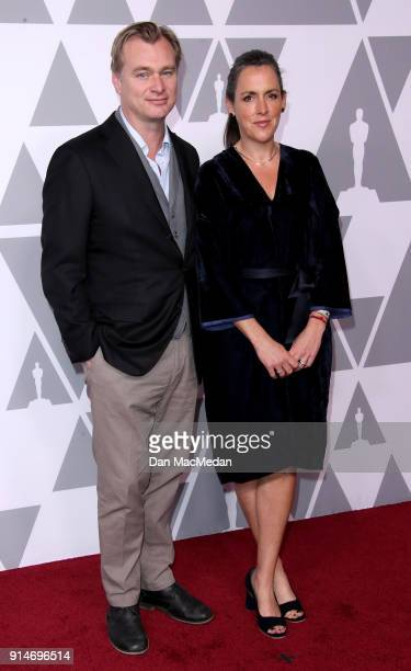 Director Christopher Nolan and producer Emma Thomas attend the 90th Annual Academy Awards Nominee Luncheon at The Beverly Hilton Hotel on February 5...