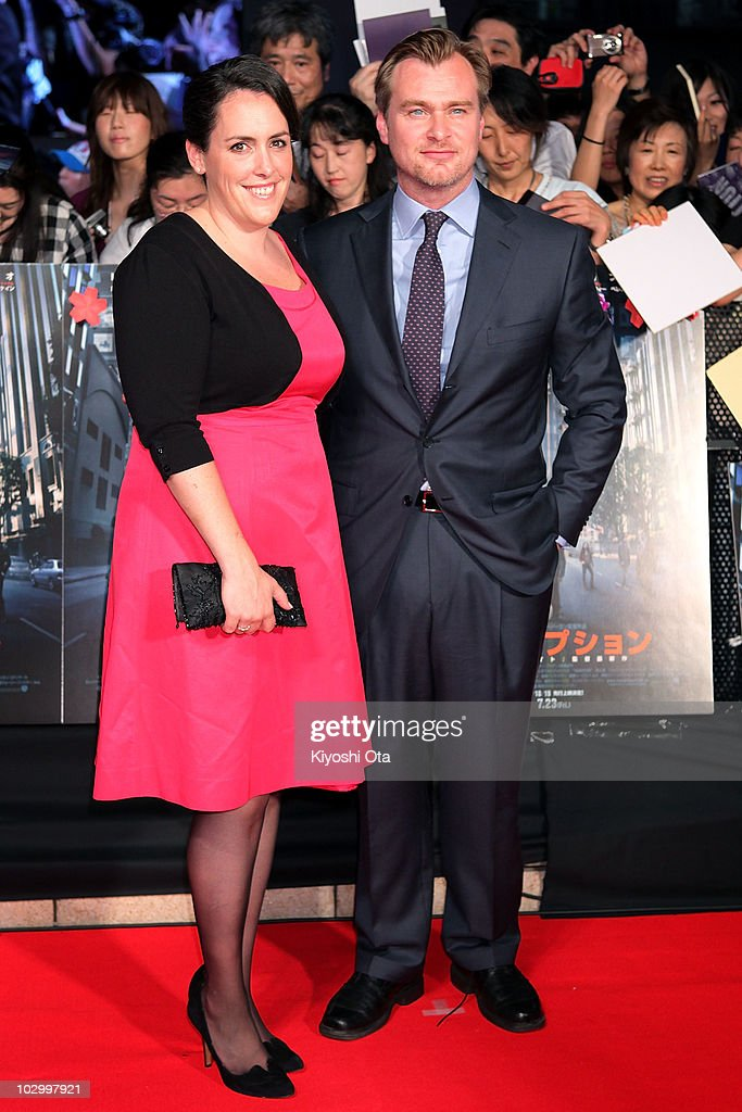 Director Christopher Nolan (R) and producer Emma Thomas pose on the red carpet during the 'Inception' Japan Premiere at Roppongi Hills on July 20, 2010 in Tokyo, Japan. The film will open in Japan on July 23.