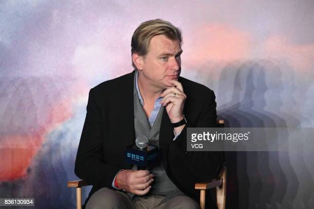 Director Christopher Nolan attends 'Dunkirk' press conference on August 21 2017 in Beijing China