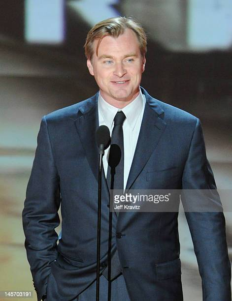 Director Christopher Nolan speaks onstage at the 2012 MTV Movie Awards at Gibson Amphitheatre on June 3 2012 in Universal City California