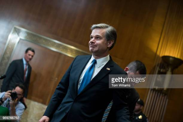 Director Christopher Wray arrives to testify before a Senate Appropriations Commerce Justice Science and Related Agencies Subcommittee hearing in...