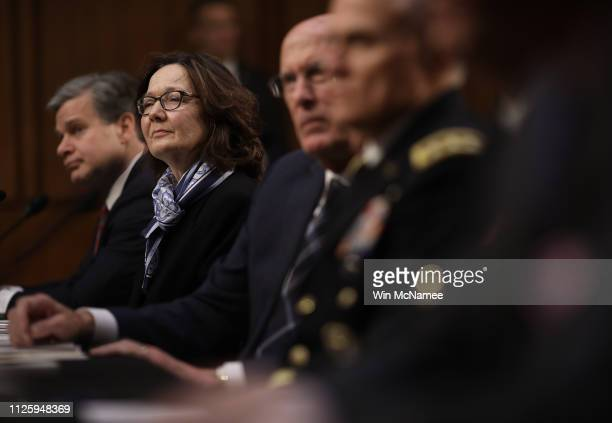 FBI Director Christopher Wray CIA Director Gina Haspel and Director of National Intelligence Dan Coats and Gen Robert Ashley director of the Defense...