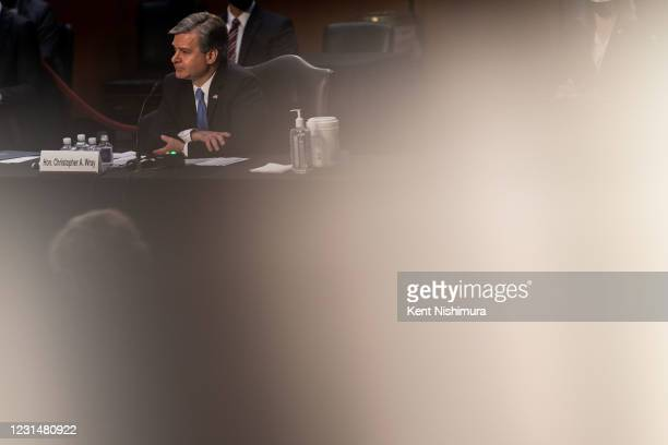 Director Christopher Wray speaks during a Senate Judiciary Committee hearing on Capitol Hill on Tuesday, March 2, 2021 in Washington, DC. In his...