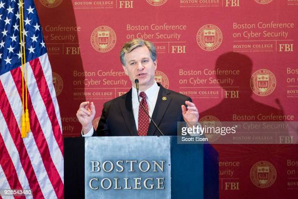 Director Christopher Wray speaks on the threats of state-sponsored digital warfare at Boston College on March 6, 2018 in Boston, Massachusetts. Wray...