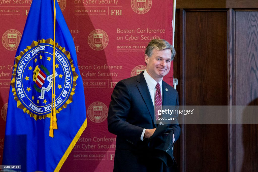 FBI Director Chris Wray Speaks At Boston College On Cyber Security