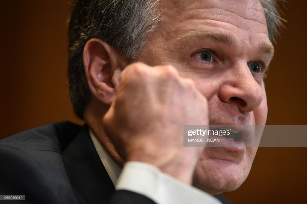 FBI Director Christopher Wray testifies before the Senate Appropriations Committee on the proposed budget for FY2019 for the FBI in the Dirksen Senate Office Building on Capitol Hill in Washington, DC on May 16, 2018.
