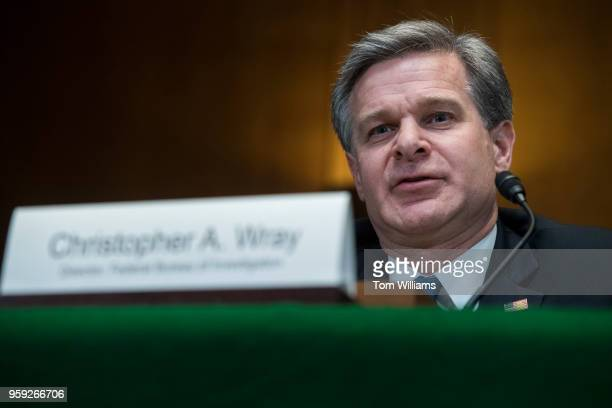 Director Christopher Wray testifies during a Senate Appropriations Commerce Justice Science and Related Agencies Subcommittee hearing in Dirksen...