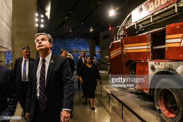 Director Christopher Wray tours the National 9/11 Memorial and Museum on September 7 2018 in New York City FBI Director Christopher Wray is visiting...