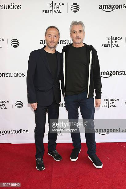 Director cinematographer Emmanuel Lubezki and Director Alfonso Cuaron attend Tribeca Talks Directors Series Alfonso Cuaron at SVA Theatre 1 on April...