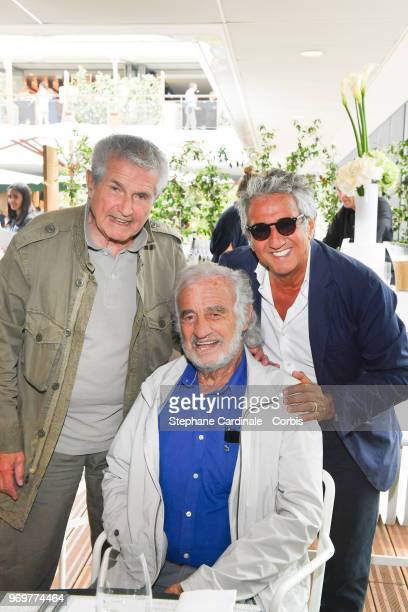 Director Claude Lelouch actors Jean Paul Belmondo and Richard Anconina attend the 2018 French Open Day Thirteen at Roland Garros on June 8 2018 in...