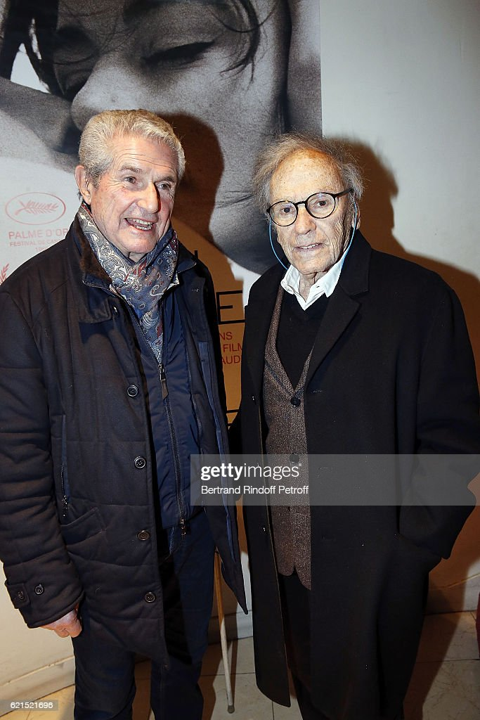 Director Claude Lelouch and Actor Jean-Louis Trintignant attend 'Un Homme et Une Femme' screening for its 5Oth Anniversary at l'Arlequin on November 6, 2016 in Paris, France.