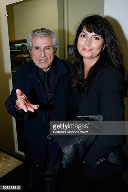 Director Claude Lelouch and his companion Valerie Perrin attend the 'Tout ce que vous voulez' Theater Play at Theatre Edouard VII on September 19...