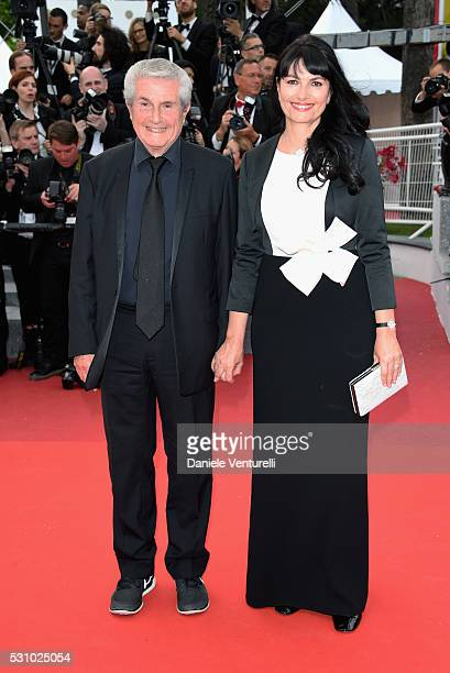 Director Claude Lelouch and his partner Valerie attend the 'Money Monster' premiere during the 69th annual Cannes Film Festival at the Palais des...