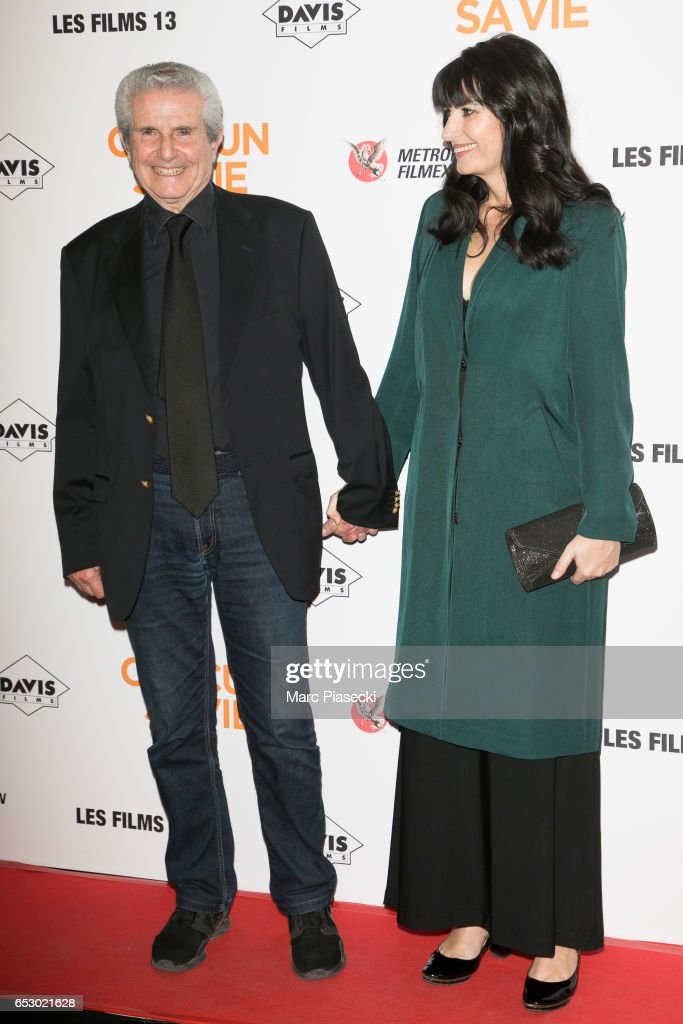 Director Claude Lelouch and Valerie Perrin attend the 'Chacun sa vie' Premiere at Cinema UGC Normandie on March 13, 2017 in Paris, France.