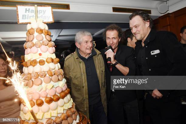 Director Claude Lelouch Nicolas MereauÊand Gilles Le Bihan and a guest attend the the Nicolas Mereau Birthday Party At Club 13 on April 6 2018 in...