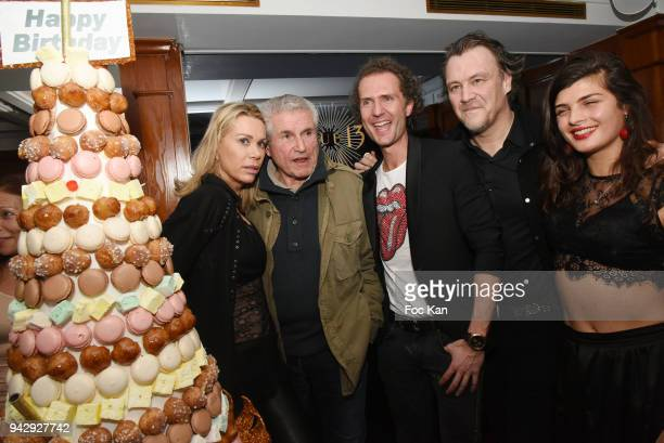 Director Claude Lelouch Nicolas MereauÊand Gilles Le Bihan attend the the Nicolas Mereau Birthday Party At Club 13 on April 6 2018 in Paris France