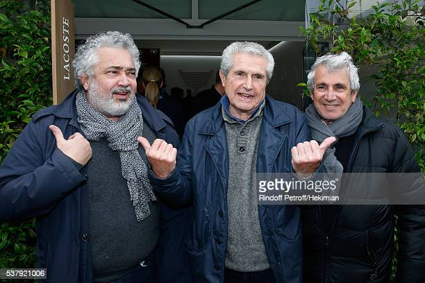 Director Claude Lelouch standing between Artistic Director of Ramatuelle Festival Michel Boujenah and his brother director Paul Boujenah attend Day...