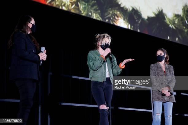 "Director Clea DuVal, Kristen Stewart and Alison Brie speak at Hulu ""Happiest Season"" Drive-In Premiere at The Grove on November 17, 2020 in Los..."