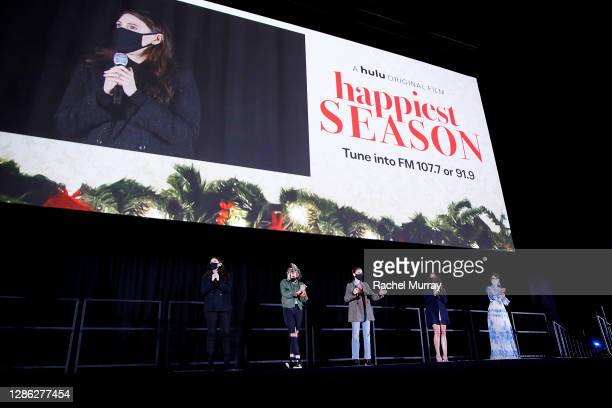 """Director Clea DuVall, Kristen Stewart, Alison Brie, Aubrey Plaza, and Mary Holland speak at Hulu """"Happiest Season"""" Drive-In Premiere at The Grove on..."""