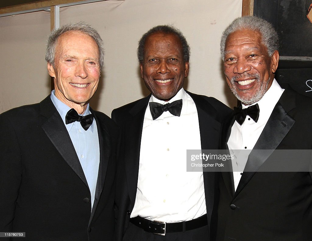 Director Clint Eastwood, actor Sidney Poitier and 39th Life Achievement Award recipient Morgan Freeman backstage at the 39th AFI Life Achievement Award honoring Morgan Freeman held at Sony Pictures Studios on June 9, 2011 in Culver City, California. The AFI Life Achievement Award tribute to Morgan Freeman will premiere on TV Land on Saturday, June 19 at 9PM