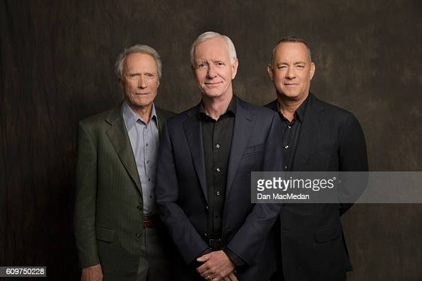 Director Clint Eastwood actor Tom Hanks and Chesley 'Sully' Sullenberger are photographed for USA Today on August 28 2016 in Los Angeles California...