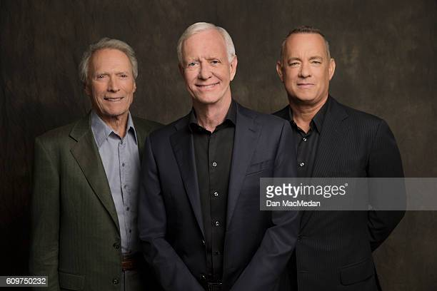 Director Clint Eastwood actor Tom Hanks and Chesley 'Sully' Sullenberger are photographed for USA Today on August 28 2016 in Los Angeles California