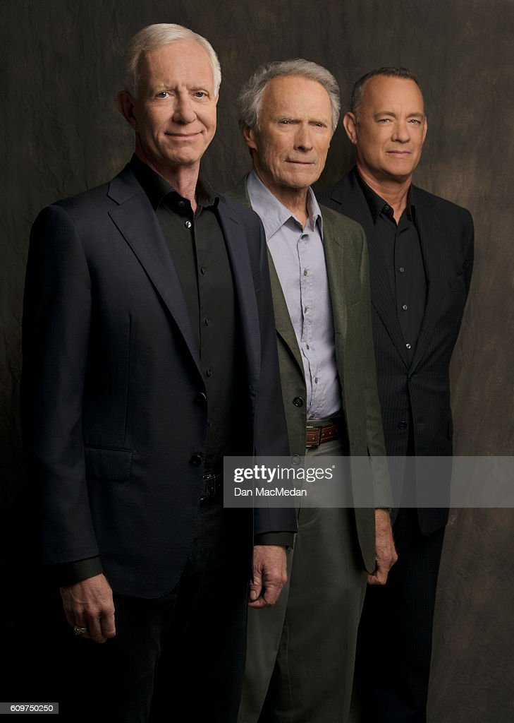Director Clint Eastwood, actor Tom Hanks and Chesley 'Sully' Sullenberger are photographed for USA Today on August 28, 2016 in Los Angeles, California. PUBLISHED