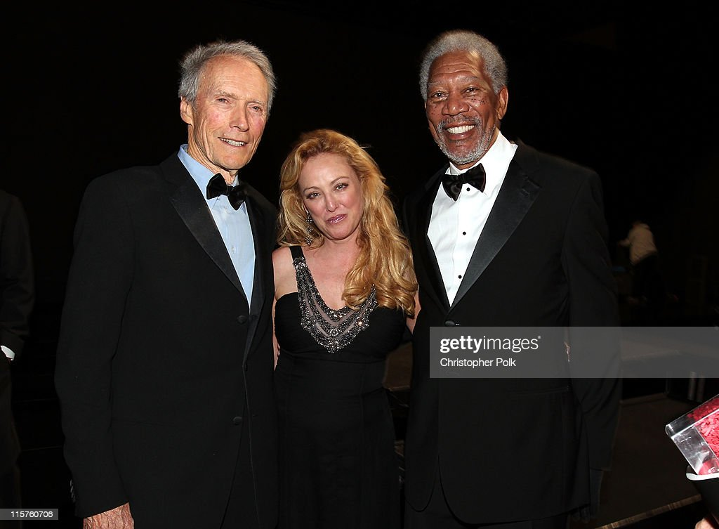Director Clint Eastwood, actress Virginia Madsen and 39th Life Achievement Award recipient Morgan Freeman backstage at the 39th AFI Life Achievement Award honoring Morgan Freeman held at Sony Pictures Studios on June 9, 2011 in Culver City, California. The AFI Life Achievement Award tribute to Morgan Freeman will premiere on TV Land on Saturday, June 19 at 9PM