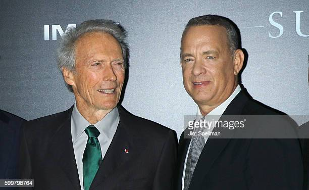 """Director Clint Eastwood and actor Tom Hanks attend the """"Sully"""" New York premiere at Alice Tully Hall, Lincoln Center on September 6, 2016 in New York..."""