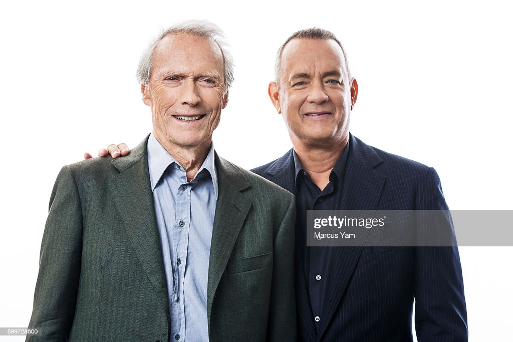 Director Clint Eastwood and actor Tom Hanks of 'Sully' are photographed for Los Angeles Times on August 28, 2016 in Los Angeles, California. PUBLISHED