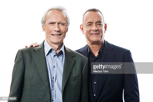 Director Clint Eastwood and actor Tom Hanks of 'Sully' are photographed for Los Angeles Times on August 28 2016 in Los Angeles California PUBLISHED...