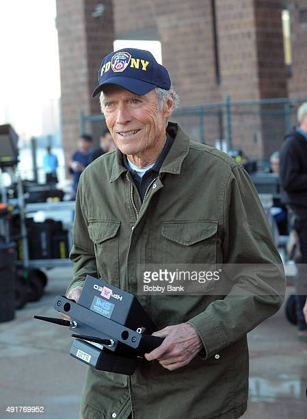 Director Clint Eastwood on the set of 'Sully' on October 7 2015 in New York City