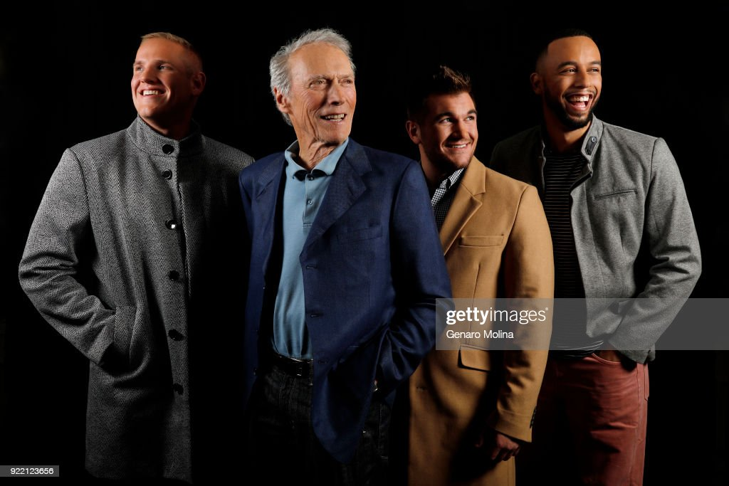 Director Clint Eastwood, Spencer Stone, Alek Skarlatos and Anthony Sadler, three real-life friends who thwarted a 2015 terrorist attack on a train to play themselves, are photographed for Los Angeles Times on January 27, 2018 in Beverly Hills, California.