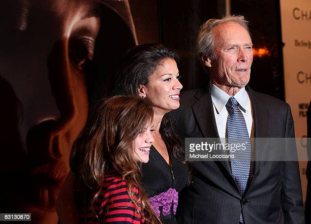 Director Clint Eastwood wife Dina Ruiz Eastwood and daughter Morgan Eastwood attend the premiere of The Changeling at Ziegfeld Theater on October 4...