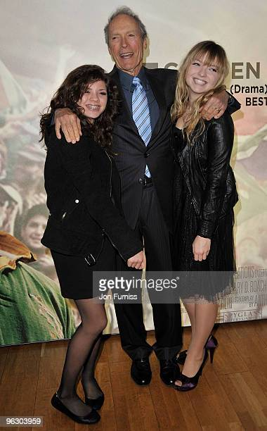Director Clint Eastwood with his daughters Morgan and Francesca attend the Invictus film premiere at the Odeon West End on January 31 2010 in London...