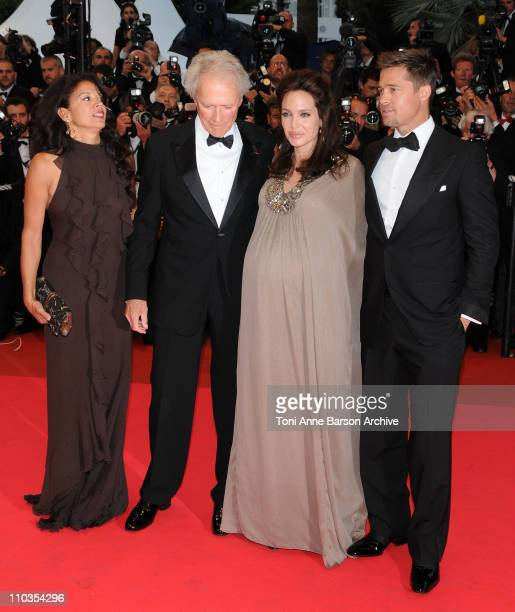 Director Clint Eastwood with his wife Dina actress Angelina Jolie and actor Brad Pitt attend the 'Changeling' Premiere at the Palais des Festivals...