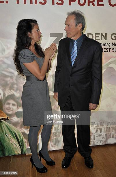 Director Clint Eastwood with his wife Dina Ruiz attend the Invictus film premiere at the Odeon West End on January 31 2010 in London England