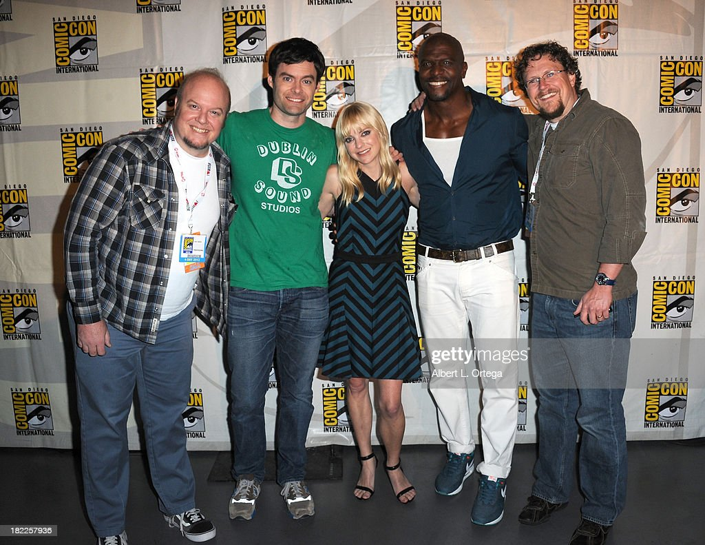 Director Cody Cameron, actor Bill Hader, actress Anna Faris, actor Terry Crews and director Kris Pearn attend The Sony and Screen Gems Panel featuring Cloudy With A Chance Of Meatballs 2 as part of Comic-Con International 2013 held at San Diego Convention Center on Friday July 19, 2012 in San Diego, California.