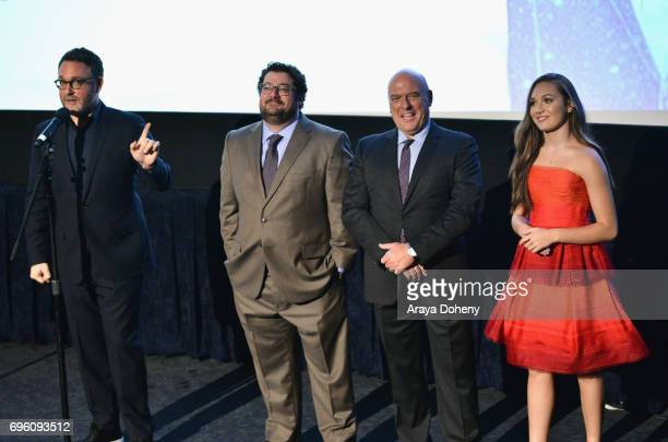 Director Colin Trevorrow actor Bobby Moynihan actor Dean Norris and actor Maddie Ziegler attend the opening night premiere of Focus Features' 'The...