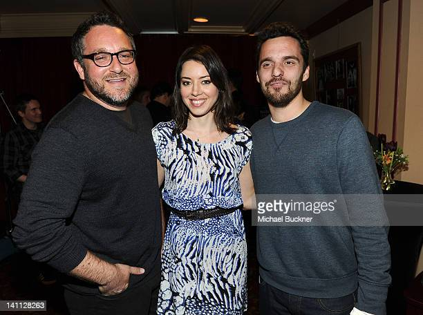Director Colin Trevorrow actress Aubrey Plaza and actor Jake Johnson attend the screening of Safety Not Guaranteed during the 2012 SXSW Music Film...
