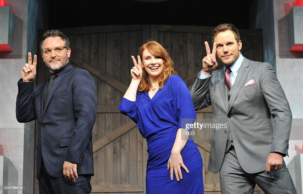 Director Colin Trevorrow, actress Bryce Dallas Howard and actor Chris Pratt attend 'Jurassic World' press conference at Yintai Centre on May 26, 2015 in Beijing, China.