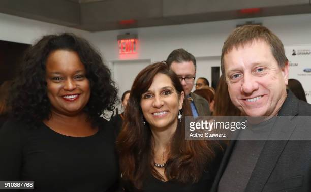 Director Community Development Ford Motor Company Fund Pamela Alexander and Tim and Mary Louise Bucher pose for a photo together at the GRAMMY...