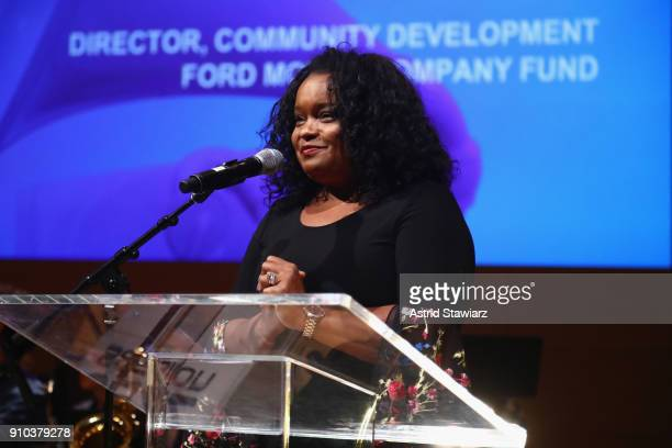 Director Community Development Ford Motor Company Fund Pamela Alexander speaks on stage during the GRAMMY Museum®'s ninth annual GRAMMY In The...